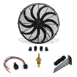 "Super Cool Pack 16"" S Blade Fan, Fixed Temp Switch & Harness - Part Number: ZIR76D49"