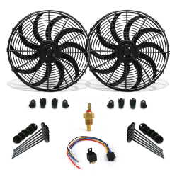 "Super Cool Pack 16"" S Blade Fans, Fixed Temp Switch & Harness - Part Number: ZIRZFK116Y2"