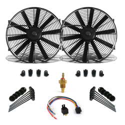 "Super Cool Pack 2 8"" Fans, Fixed Temp Switch & Harness - Part Number: ZIRZFK18N2"
