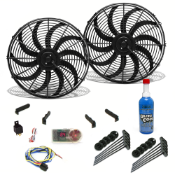 "Zirgo Super Cool Pack with Two 3000 fCFM 16"" S Blade Fans, Fixed Temp Switch, Harness, and Brackets and Additive. - Part Number: ZIRZFK316Y2"