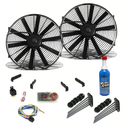 "Zirgo Super Cool Pack with Two 605 fCFM 10"" Fan, Fixed Temp Switch, Harness, and Brackets and Additive - Part Number: ZIRZFK38N2"