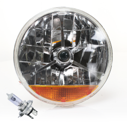 "Tri-Bar 7"" Inch Halogen Lens Assembly w/ H4 bulb and Amber Turn Signal  - Part Number: AUTLENB3AB"
