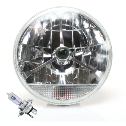 "Tri-Bar 7"" Inch Lens Assembly w/ H4 bulb and Clear Turn Signal - Part Number: AUTLENB2AB"