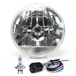 "Tri-Bar 7"" Inch Lens Assembly w/ H4 Bulb, Harness and Clear Turn Signal - Part Number: AUTLENB2AK"