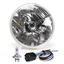 "Tri-Bar 7"" Inch Halogen Lens Assembly w/ H4 bulb and Plug - Part Number: AUTLENB1AK"