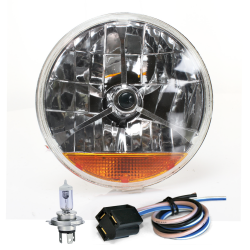 "Tri-Bar 7"" Inch Halogen Lens Assembly W/ H4 bulb, Plug and Amber Turn Signal - Part Number: AUTLENB3AK"
