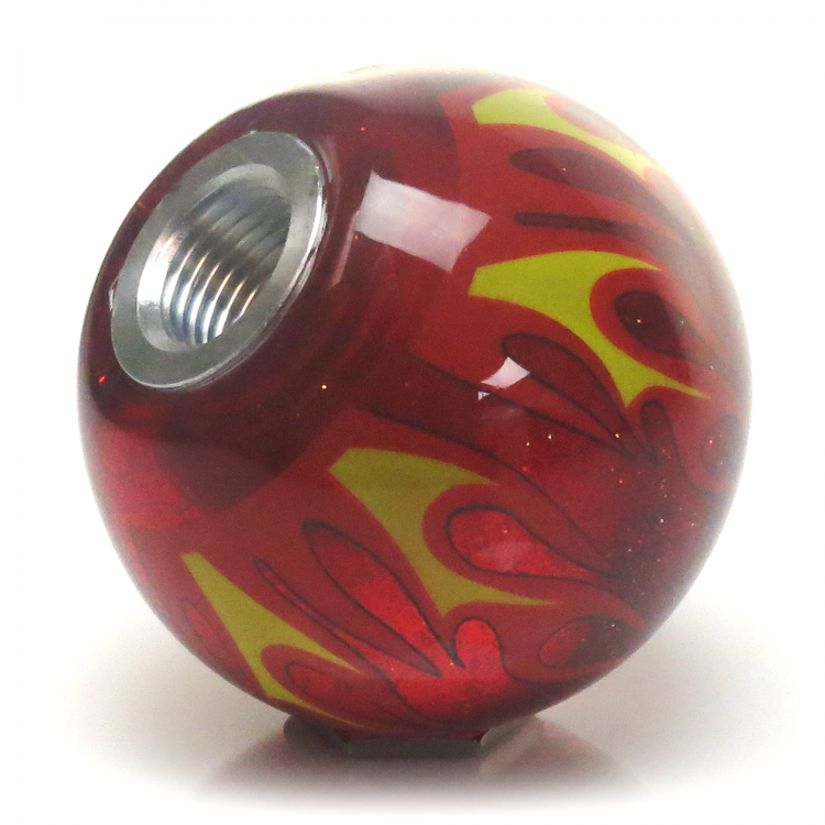 American Shifter 158940 Red Flame Metal Flake Shift Knob with M12 x 1.25 Insert