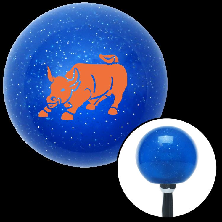 American Shifter 26685 Blue Metal Flake Shift Knob Orange Bull