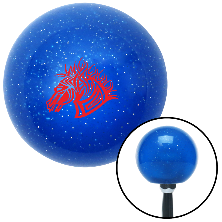 American Shifter 26830 Blue Metal Flake Shift Knob Red Horse