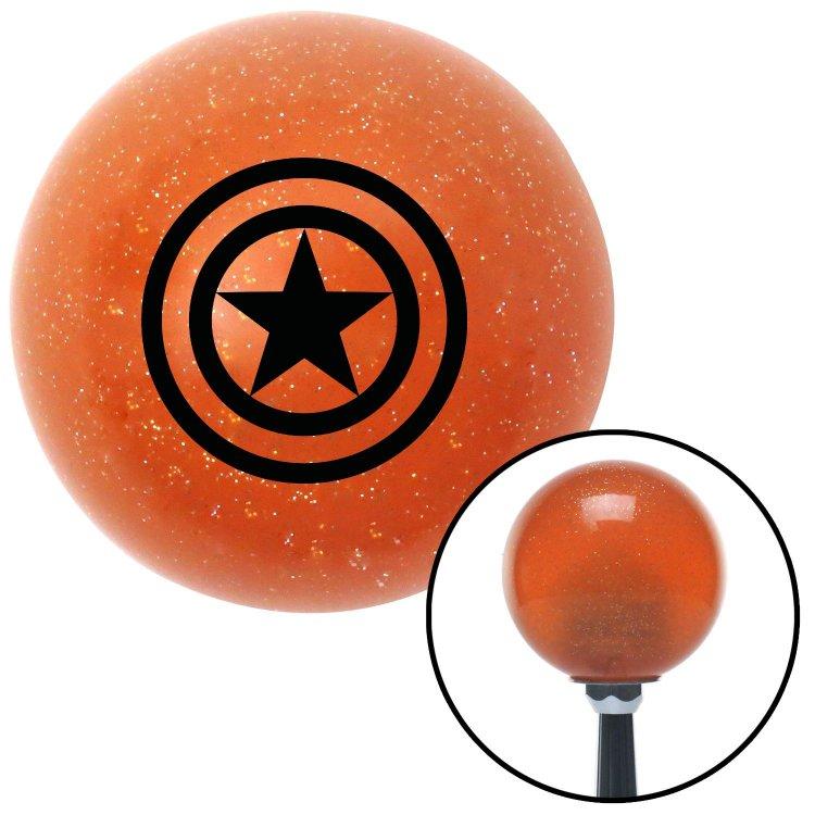 American Shifter 44890 Orange Metal Flake Shift Knob with 16mm x 1.5 Insert Black Star Inside Circles