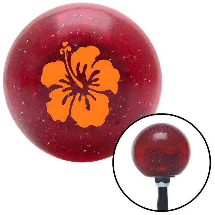 American Shifter 56960 Red Metal Flake Shift Knob with 16mm x 1.5 Insert Orange Hawaiian Flower #9