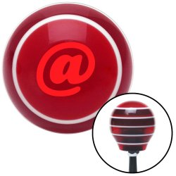Red @ Symbol Red Stripe Shift Knob with M16 x 1.5 Insert - Part Number: ASCSNX99405