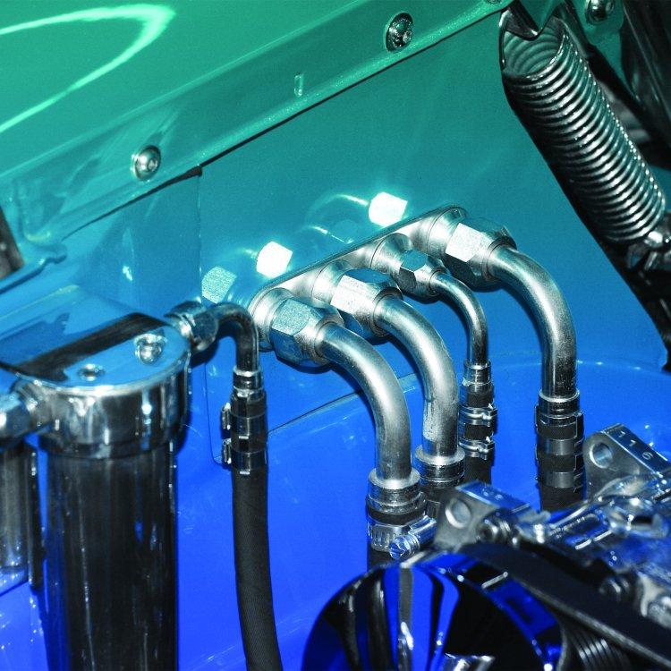 Blue Aluminum 4 Port Straight AC Air Conditioning Heater Hose Firewall Bulkhead