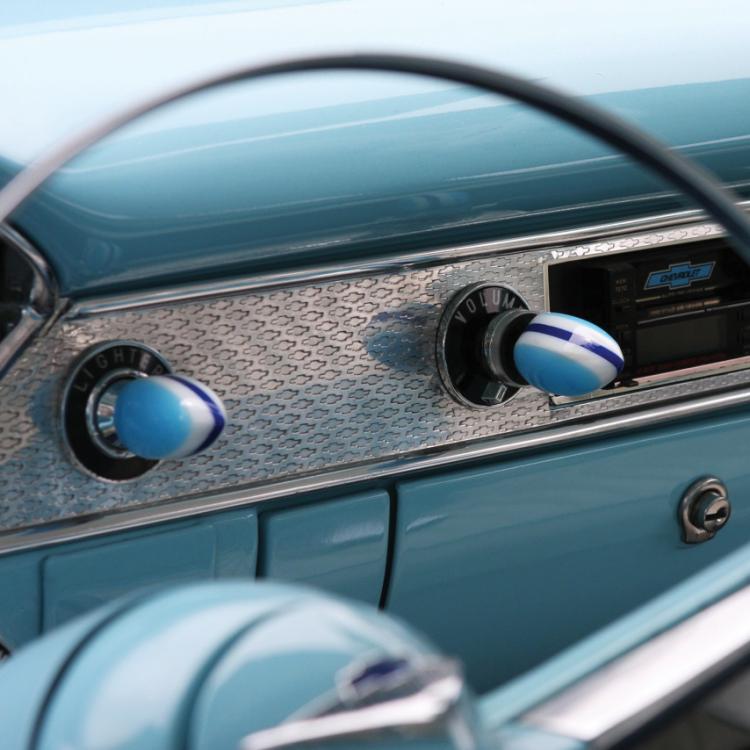 Vintage Parts 96172 Blue Small Tear Shape Dash Knob