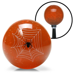 Orange Spider Custom Shift Knob Translucent with Metal Flake - Part Number: ASCSN09006