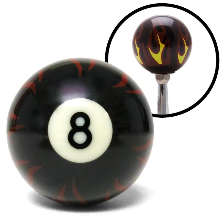 American Shifter 143050 Black Flame Shift Knob with M16 x 1.5 Insert 8 Ball