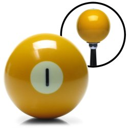 1 Ball Yellow Solid Billiard Shift Knob with 3/8-16 Insert - Part Number: ASCSNX123571