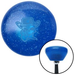 Blue Cowboy Skull Blue Retro Metal Flake Shift Knob with M16 x 1.5 Insert - Part Number: ASCSNX172550