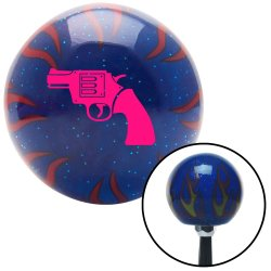 Pink Hand Gun American Shifter 248587 Blue Flame Metal Flake Shift Knob with M16 x 1.5 Insert