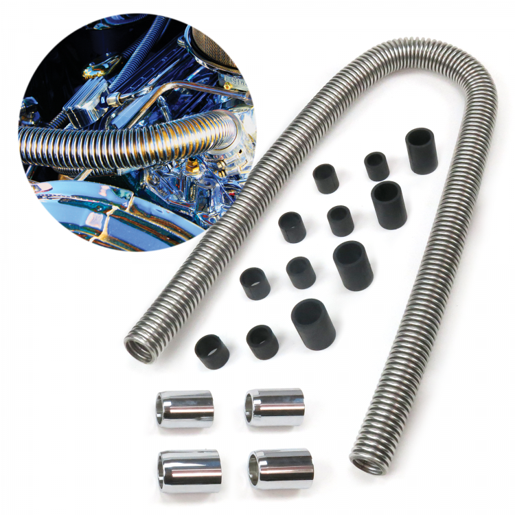"Universal 48/"" Stainless Steel Radiator Hose Kit with Polished End Caps Show Time"