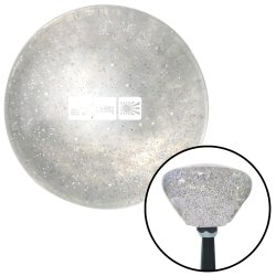 White Eat Sleep JDM Clear Retro Metal Flake Shift Knob with M16 x 1.5 Insert - Part Number: ASCSNX1627945