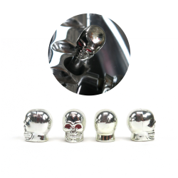 Set of 4 Chrome Skull Valve Caps - Part Number: VPAVC01