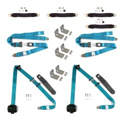 3pt Retro Blue Retractable Seat Belt Kit For 4 Door - Part Number: STBSEB3PSBKEB