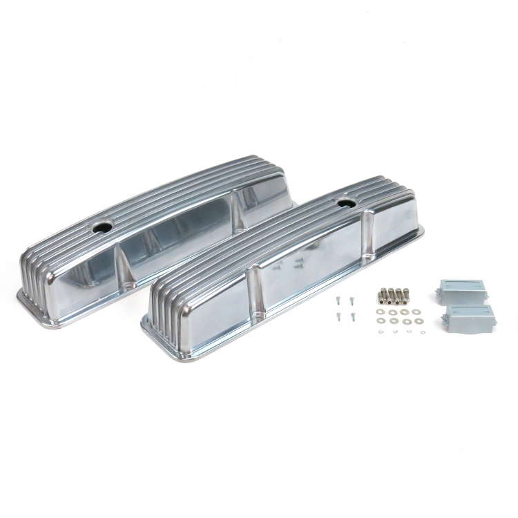 Small Block Chevy Nostalgic Polished Aluminum Finned Tall Valve Covers 350 SBC