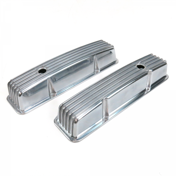 Pair of Short Finned SBC Chevy Valve Covers and 15 Inch Full