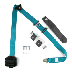 3pt Blue Retractable Seat Belt With Angled Mounting Brackets & Standard Buckle - Part Number: STBSB3RSBLHPK