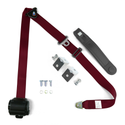 3pt Burgundy Retractable Seat Belt With Angled Steel Mounting Brackets - Standard Buckle - Part Number: STBSB3RSBGHPK