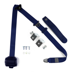3 Point Retractable Dark Blue Seat Belt With Angled Mounting Brackets - Standard Buckle - Part Number: STBSB3RSDBHPK