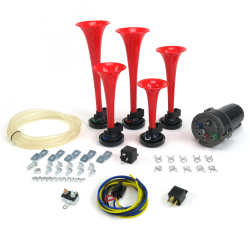 La Cucaracha Horn Kit With High Amp Driver Relay, Plug-In Harness And Circuit Breaker - Part Number: TRGHA165K