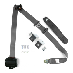 3pt Gray/Grey Retractable Seat Belt With Mounting Brackets - Standard Buckle - Part Number: STBSB3RSGRHPK