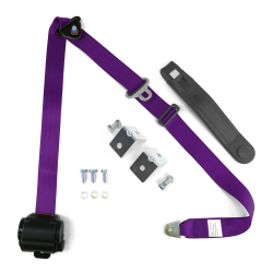3 Point Retractable Plum Purple Seat Belt With Mounting Brackets- Standard Buckle - Part Number: STBSB3RSPLHPK