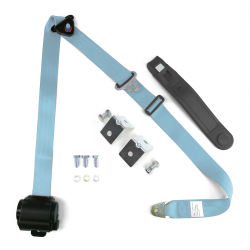 3pt Sky Blue Retractable Seat Belt With Mounting Brackets - Standard Buckle - Part Number: STBSB3RSSBHPK