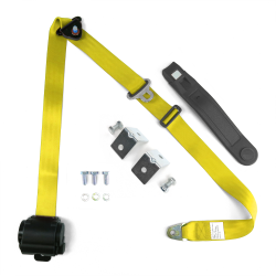 3pt Yellow Retractable Seat Belt With Mounting Brackets - Standard Buckle - Part Number: STBSB3RSYLHPK