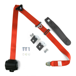 3pt Orange Retractable Seat Belt With Mounting Brackets - Standard Buckle - Part Number: STBSB3RSORHPK