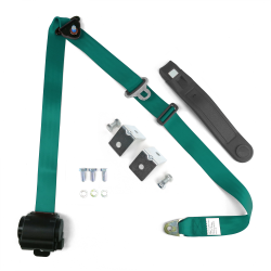 3pt Aqua Retractable Seat Belt With Angled Mounting Brackets- Standard Buckle - Part Number: STBSB3RSAQHPK