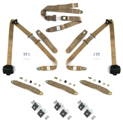 3pt Tan Retractable Seat Belts With Middle 2pt Lap Belt Kit For Bench Seat - Part Number: STBSBK3PSTNB