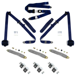 3pt Dark Blue Retractable Seat Belts With Middle 2pt Lap Belt Kit For Bench Seat - Part Number: STBSBK3PSBKDB