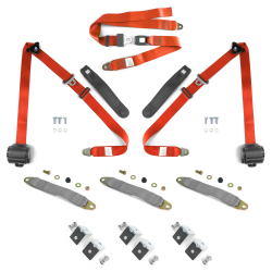 3pt Orange Retractable Seat Belts With Middle 2pt Lap Belt Kit For Bench Seat - Part Number: STBSBK3PSBKOR
