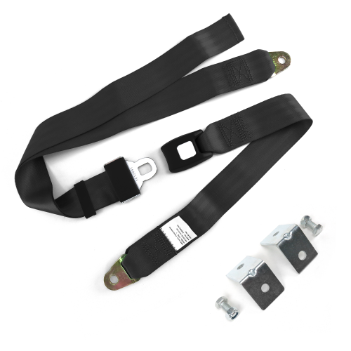 2pt Black Standard Buckle Lap Seat Belt with Mounting Hardware instructions, warranty, rebate