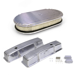 Pair of Short Finned SBC Chevy Valve Covers and 15 Inch Full Finned Air Cleaner - Part Number: VPAVCYABA151