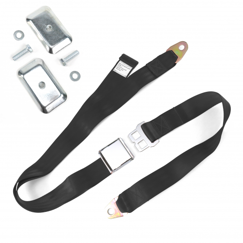2pt Black Airplane Buckle Lap Seat Belt w/ Flat Plate Hardware instructions, warranty, rebate