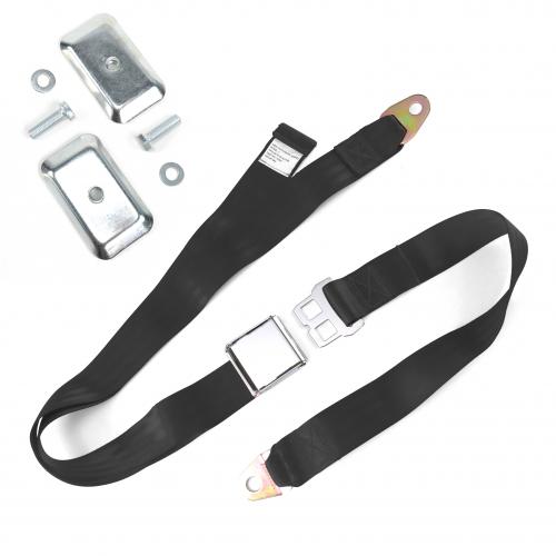 2pt Black Airplane Buckle Lap Seat Belt w/ Flat Plate Hardware instructions, warranty, rebate