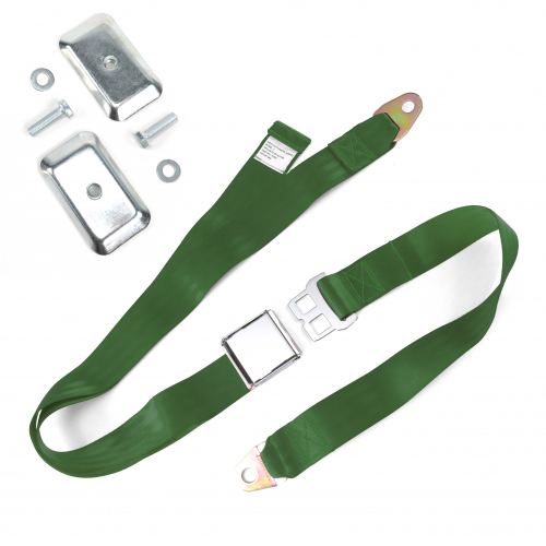2pt Army Green Airplane Buckle Lap Seat Belt w/ Flat Plate Hardware instructions, warranty, rebate