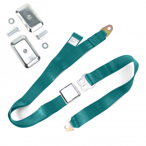 2pt Aqua Airplane Buckle Lap Seat Belt w/ Flat Plate Hardware instructions, warranty, rebate