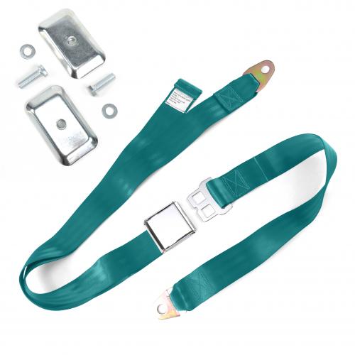 2pt Aqua Airplane Buckle Lap Seat Belt w/ Flat Plate Hardware instructions, warranty, rebate