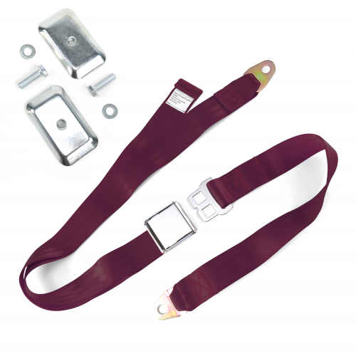 2pt Burgundy Airplane Buckle Lap Seat Belt w/ Flat Plate Hardware instructions, warranty, rebate